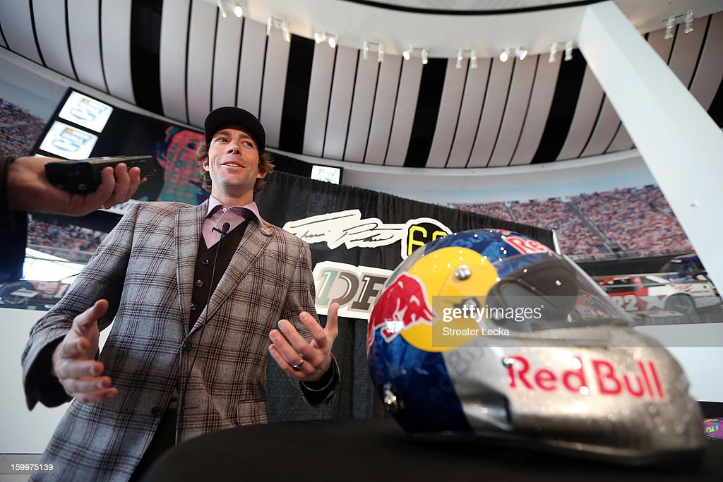 Travis Pastrana, driver for Roush Fenway Racing, speaks to the media during the 2013 NASCAR Sprint Media Tour on January 24, 2013 in Concord, North Carolina.