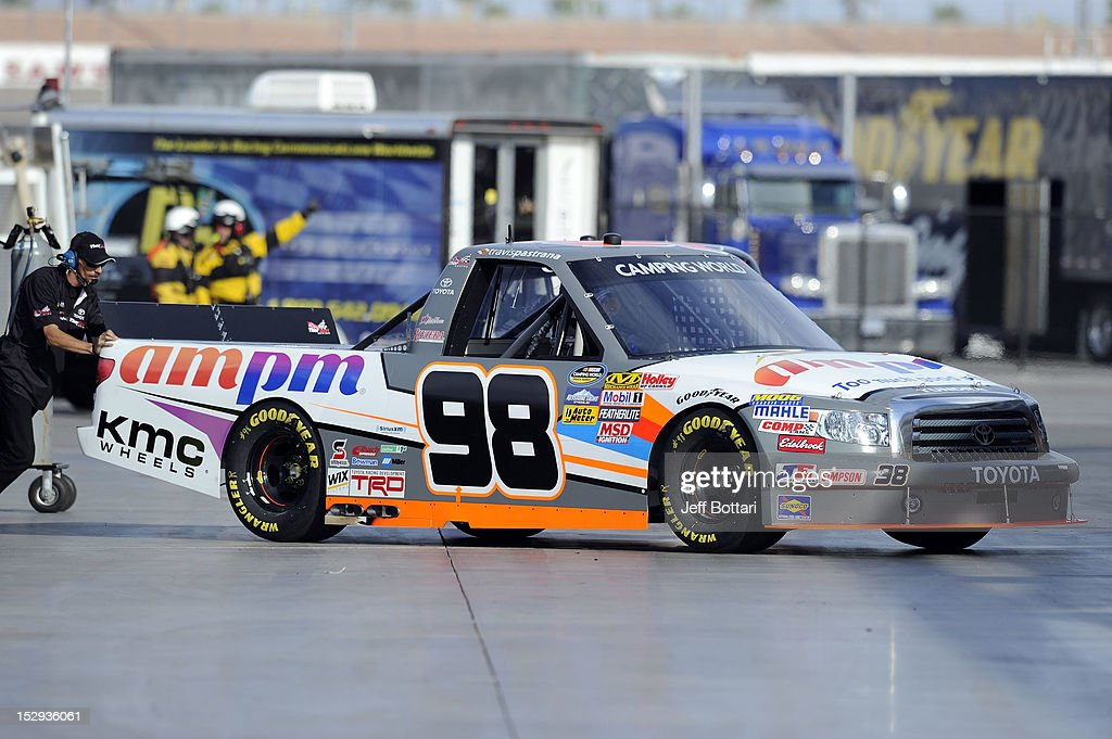 Travis Pastrana, driver of the #98 AM/PM Toyota, pulls out of the garage area during practice for the NASCAR Camping World Truck Series Smith's 350 race at Las Vegas Motor Speedway on September 28, 2012 in Las Vegas, Nevada.