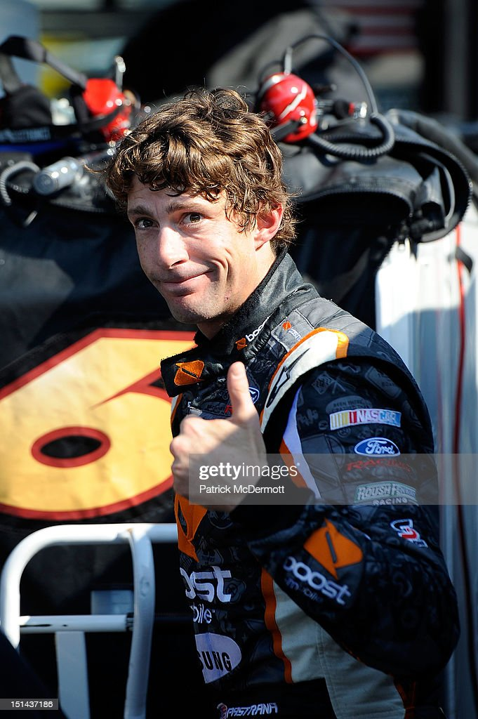 Travis Pastrana, driver of the #60 Ford EcoBoost Ford, holds a thumbs up during practice for the NASCAR Nationwide Series Virginia 529 College Savings 250 at Richmond International Raceway on September 7, 2012 in Richmond, Virginia.