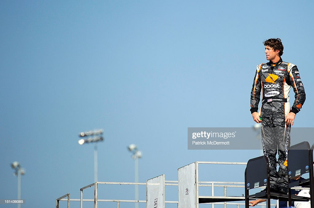 Travis Pastrana, driver of the #60 Ford EcoBoost Ford, watches practice for the NASCAR Nationwide Series Virginia 529 College Savings 250 at Richmond International Raceway on September 7, 2012 in Richmond, Virginia.