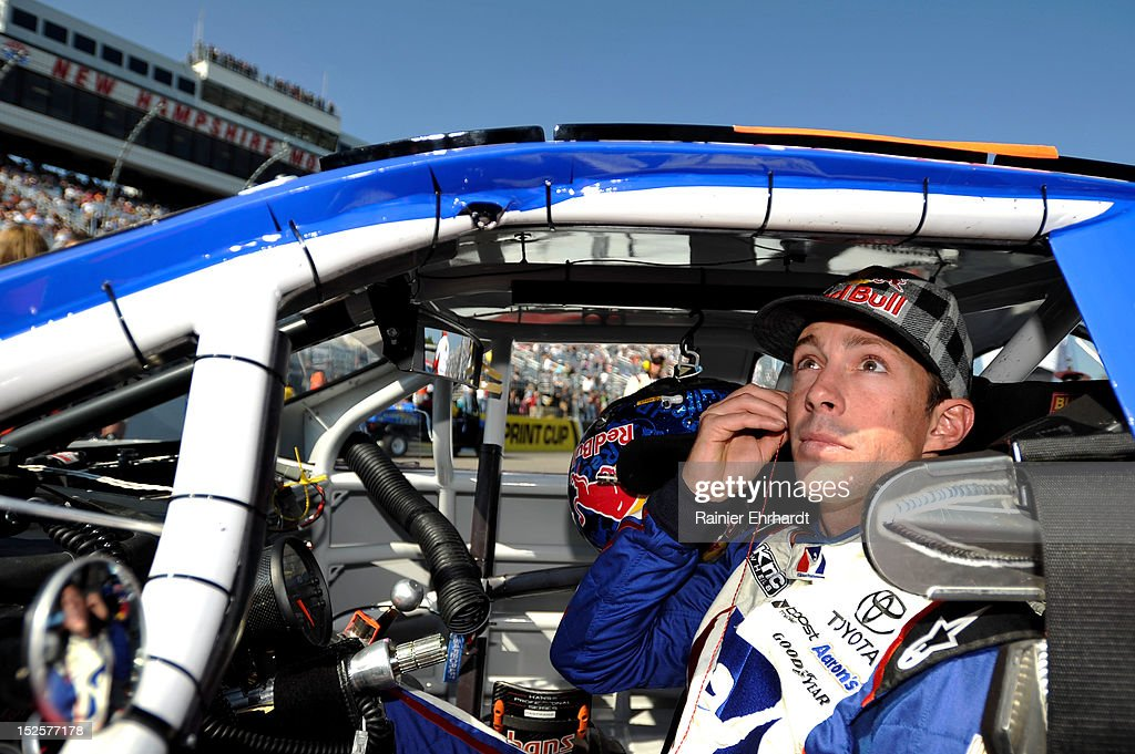 Travis Pastrana, driver of the #99 iRacing.com Toyota, sits in his car prior to the start of the NASCAR K&N Pro Series East G-Oil 100 at New Hampshire Motor Speedway on September 22, 2012 in Loudon, New Hampshire.