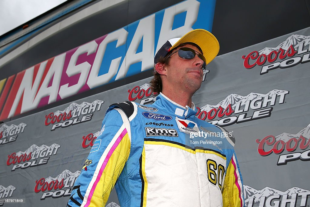 Travis Pastrana, driver of the #60 Roush Fenway Racing Ford, looks after he qualified first during qualifying of the NASCAR Nationwide Series Aaron's 312 at Talladega Superspeedway on May 3, 2013 in Talladega, Alabama.