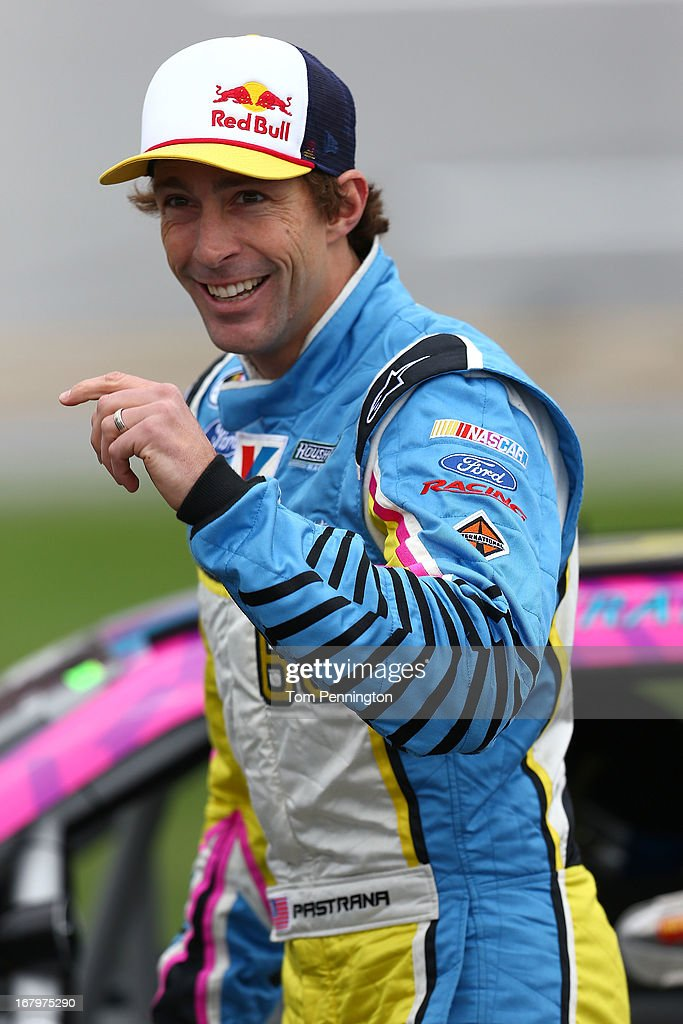 Travis Pastrana, driver of the #60 Roush Fenway Racing Ford, looks on from the grid during qualifying of the NASCAR Nationwide Series Aaron's 312 at Talladega Superspeedway on May 3, 2013 in Talladega, Alabama.