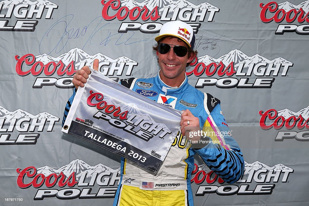 Travis Pastrana, driver of the #60 Roush Fenway Racing Ford, poses with his pole award after qualifying firist for the NASCAR Nationwide Series Aaron's 312 at Talladega Superspeedway on May 3, 2013 in Talladega, Alabama.