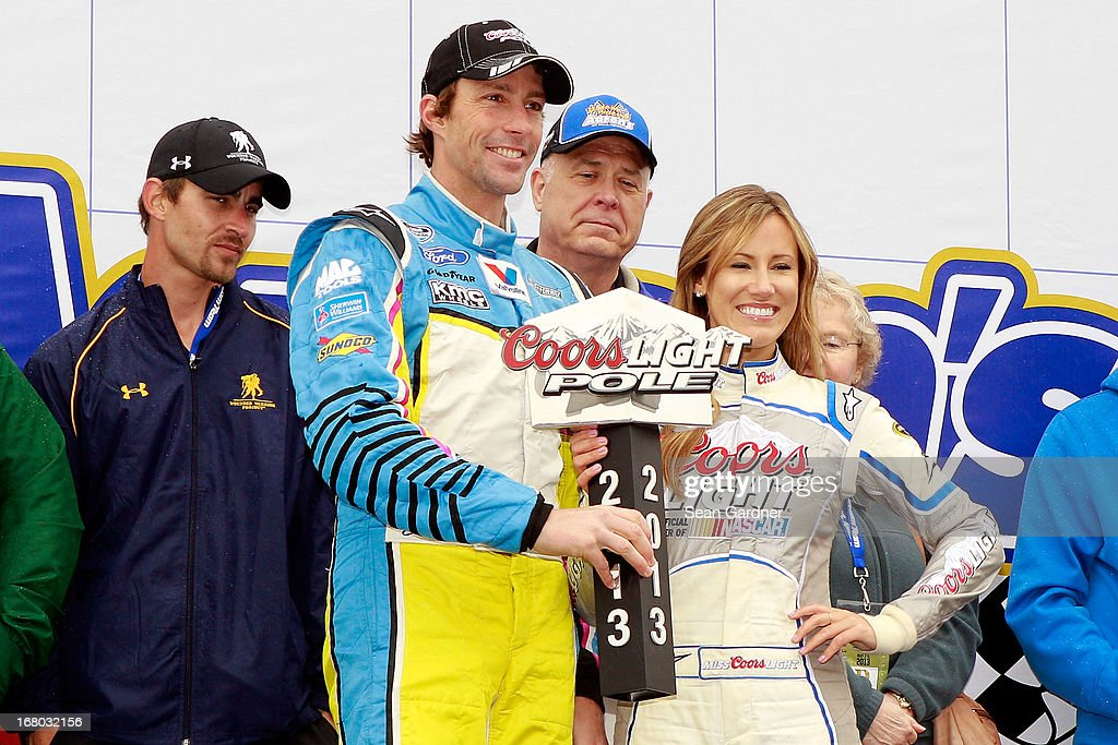 Travis Pastrana, driver of the #60 Roush Fenway Racing Ford, poses with the Coors Light pole award as rain delayed the start of the NASCAR Nationwide Series Aaron's 312 at Talladega Superspeedway on May 4, 2013 in Talladega, Alabama.