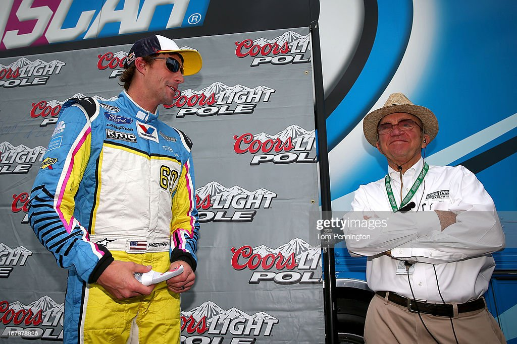 Travis Pastrana, driver of the #60 Roush Fenway Racing Ford, stands with team owner Jack Roush during qualifying of the NASCAR Nationwide Series Aaron's 312 at Talladega Superspeedway on May 3, 2013 in Talladega, Alabama.