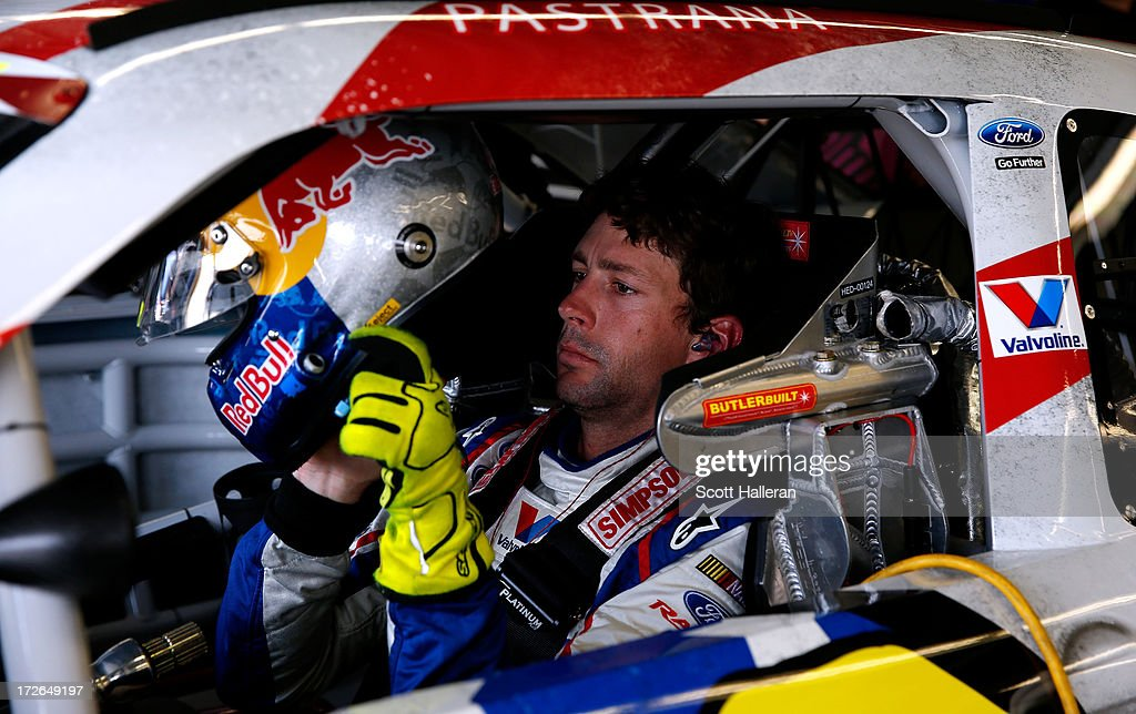Travis Pastrana, driver of the #60 Roush Fenway Racing / RaceTrac Ford, makes adjustments in his car during practice for the NASCAR Nationwide Series Subway Firecracker 250 at Daytona International Speedway on July 4, 2013 in Daytona Beach, Florida.