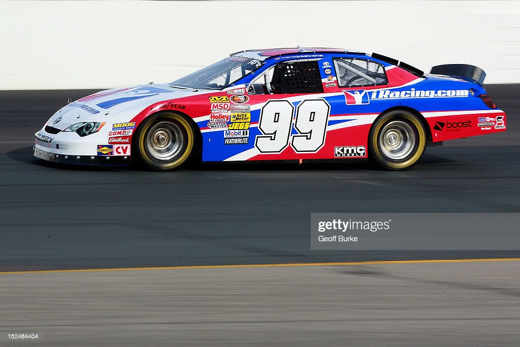 Travis Pastrana drives the #99 iRacing.com Toyota during practice for the NASCAR K&N Pro Series East G-Oil 100 at New Hampshire Motor Speedway on September 21, 2012 in Loudon, New Hampshire.