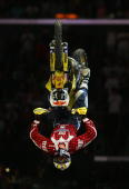 Travis Pastrana executes a double backflip in the Moto X Best Trick final during the ESPN X Games August 4 2006 at the Staples Center in Los Angeles...