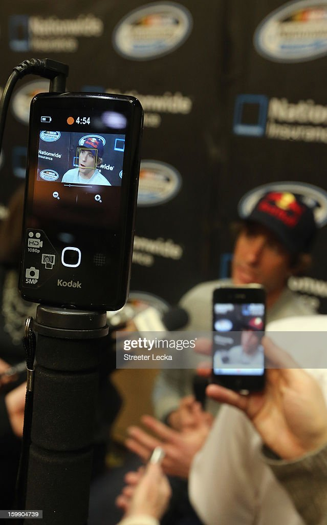 Travis Pastrana, NASCAR Nationwide Series driver, speaks to the media during the 2013 NASCAR Sprint Media Tour on January 22, 2013 in Concord, North Carolina.