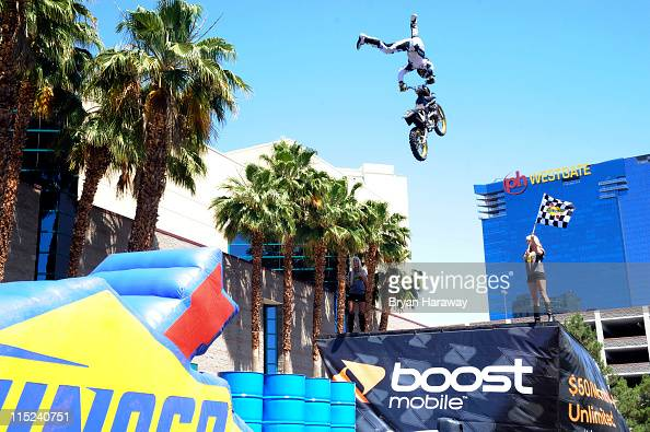 Travis Pastrana performs a motorcycle stunt during the Nitro Circus on June 4 2011 in Las Vegas Nevada