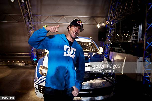 Travis Pastrana poses as he prepares to set a new world record jump distance for a rally car on December 31 2009 in Long Beach California Pastrana...