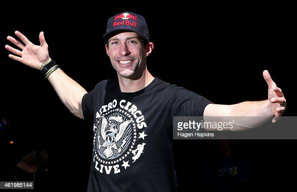 Travis Pastrana poses during the 2015 Nitro Circus preshow practice at Westpac Stadium on January 23 2015 in Wellington New Zealand