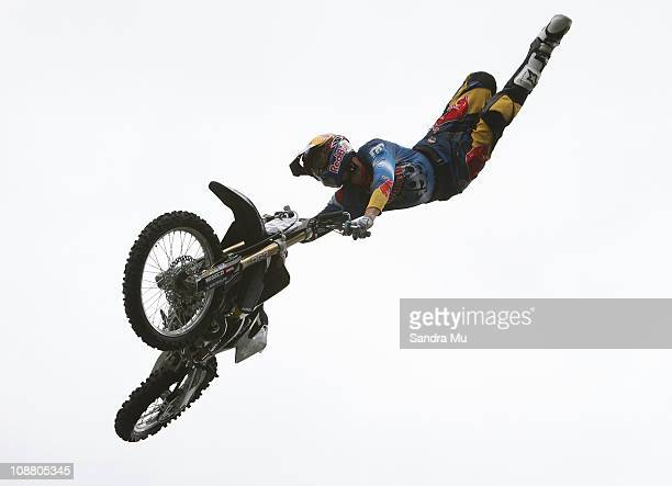 Travis Pastrana practices ahead of the first New Zealand Nitro Circus event at North Harbour Stadium on February 4 2011 in Auckland New Zealand