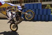 Travis Pastrana rides his motorcycle during the Nitro Circus on June 4 2011 in Las Vegas Nevada