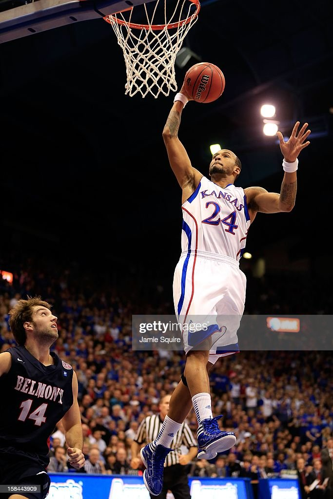<a gi-track='captionPersonalityLinkClicked' href=/galleries/search?phrase=Travis+Releford&family=editorial&specificpeople=5628041 ng-click='$event.stopPropagation()'>Travis Releford</a> #24 of the Kansas Jayhawks dunks during the game against the Belmont Bruins at Allen Fieldhouse on December 15, 2012 in Lawrence, Kansas.