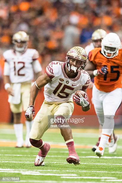 Travis Rudolph of the Florida State Seminoles runs with the ball during the game against the Syracuse Orange on November 19 2016 at The Carrier Dome...