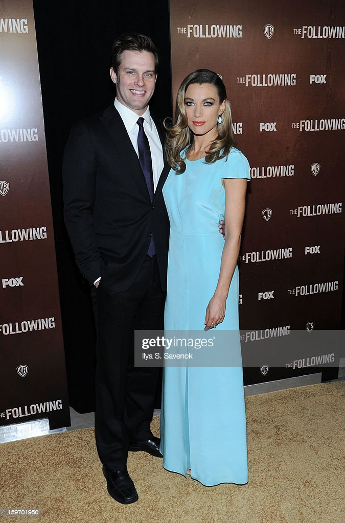 Travis Schuldt and Natalie Zea attend 'The Following' World Premiere at The New York Public Library on January 18, 2013 in New York City.