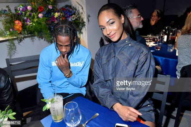 Travis Scott and Jourdan Dunn attend Kenzo La Collection Momento N°1 event at Kenzo Headquarters on March 1 2017 in Paris France
