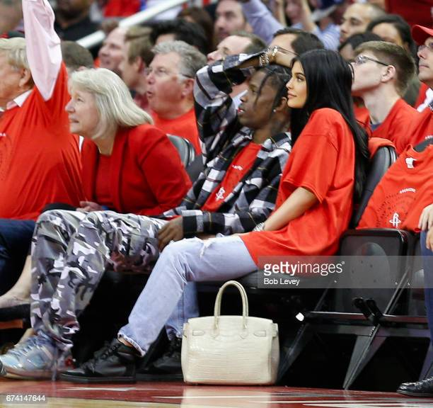 Travis Scott and Kylie Jenner courtside during Game Five of the Western Conference Quarterfinals game of the 2017 NBA Playoffs at Toyota Center on...