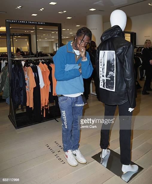 Travis Scott appears at Barneys New York in Beverly Hills to view his Helmut Lang X Travis Scott collection at Barneys New York on January 30 2017 in...