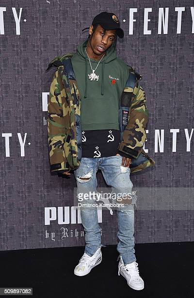 Travis Scott attends the FENTY PUMA by Rihanna AW16 Collection during Fall 2016 New York Fashion Week at 23 Wall Street on February 12 2016 in New...
