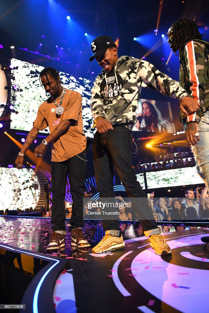Travis Scott, Chance The Rapper and Quavo perform onstage during the 2017 iHeartRadio Music Festival at T-Mobile Arena on September 23, 2017 in Las Vegas, Nevada.