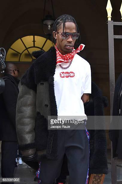 Travis Scott is seen arriving at Louis Vuitton Fashion Show during Paris Fashion Week Menswear Fall/Winter 2017/2018 on January 19 2017 in Paris...