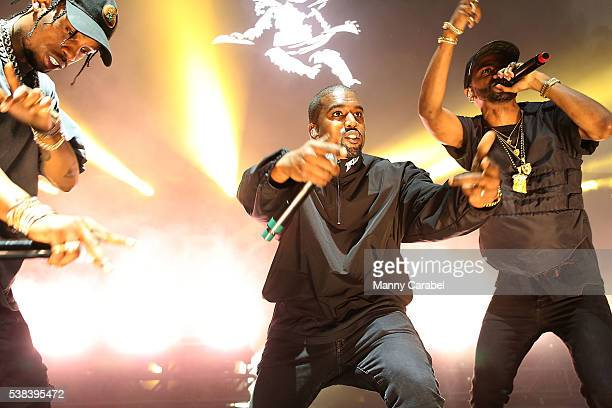 Travis Scott Kanye West and Big Sean perform at the 2016 Hot 97 Summer Jam at MetLife Stadium on June 5 2016 in East Rutherford New Jersey