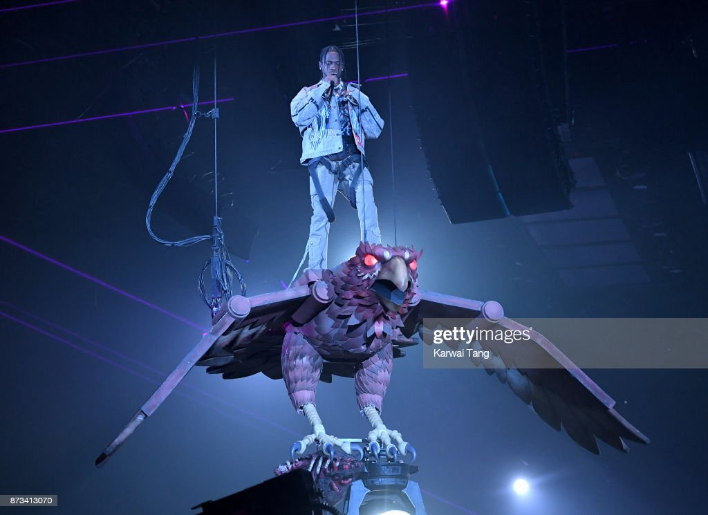 Travis Scott on stage during the MTV EMAs 2017 held at The SSE Arena, Wembley on November 12, 2017 in London, England.