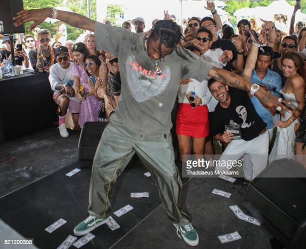 Travis Scott performs at Revolve in The Hampton Hot in Havana party on July 22 2017 in Bridgehampton New York