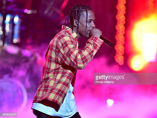 Travis Scott performs at the 2015 BET awards at Boisfeuillet Jones Atlanta Civic Center on October 9 2015 in Atlanta Georgia