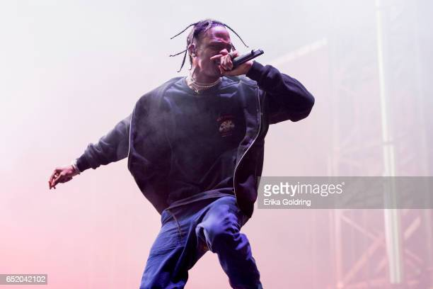 Travis Scott performs during BUKU Music Arts Project on March 10 2017 in New Orleans Louisiana