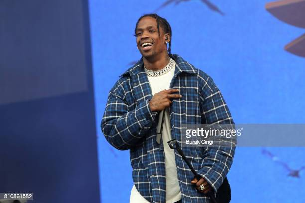 Travis Scott performs on day 2 of Wireless Festival at Finsbury Park on July 8 2017 in London England