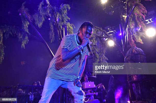 Travis Scott performs on the Outdoor Stage during day 1 of the Coachella Valley Music And Arts Festival at the Empire Polo Club on April 14 2017 in...