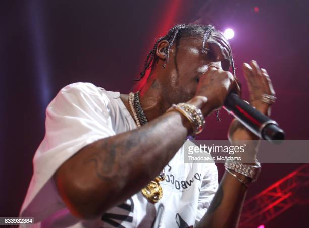 Travis Scott performs onstage at Smart Financial Centre on February 4 2017 in Sugar Land Texas