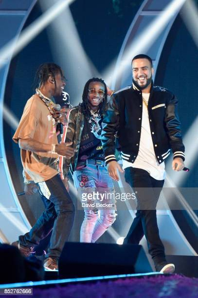 Travis Scott Quavo and French Montana perform onstage during the 2017 iHeartRadio Music Festival at TMobile Arena on September 23 2017 in Las Vegas...