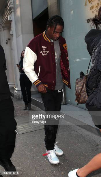 Travis Scott seen on a night out with grilfriend Kylie Jenner at Nobu Berkeley St restaurant on July 3 2017 in London England