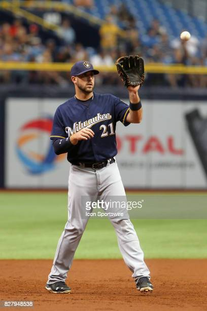 Travis Shaw of the Brewers sets up to make a catch during the MLB regular season game between the Milwaukee Brewers and Tampa Bay Rays on August 6 at...