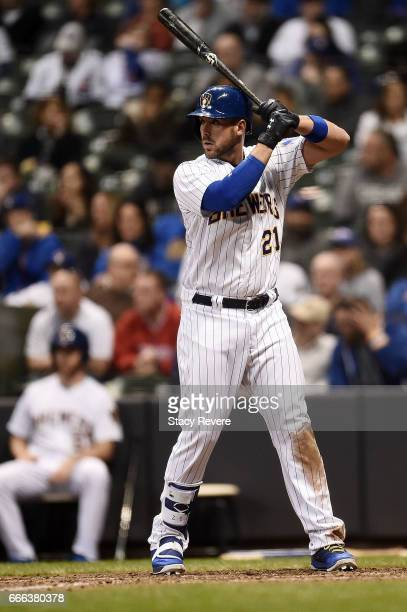Travis Shaw of the Milwaukee Brewers at bat during a game against the Chicago Cubs at Miller Park on April 7 2017 in Milwaukee Wisconsin The Brewers...