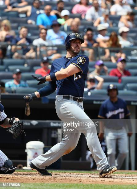 Travis Shaw of the Milwaukee Brewers bats against the New York Yankees during their game at Yankee Stadium on July 8 2017 in the Bronx borough of New...