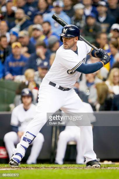 Travis Shaw of the Milwaukee Brewers bats in the second inning against the Colorado Rockies of the MLB Opening Day game at Miller Park on April 3...