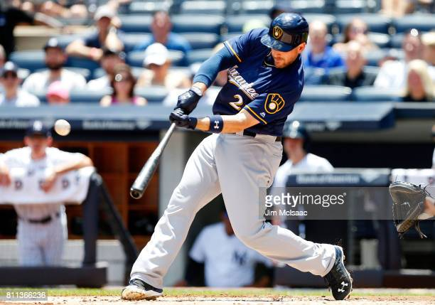 Travis Shaw of the Milwaukee Brewers connects on a first inning three run home run against the New York Yankees at Yankee Stadium on July 9 2017 in...