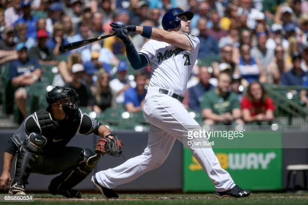 Travis Shaw of the Milwaukee Brewers flies out in the first inning against the Arizona Diamondbacks at Miller Park on May 28 2017 in Milwaukee...