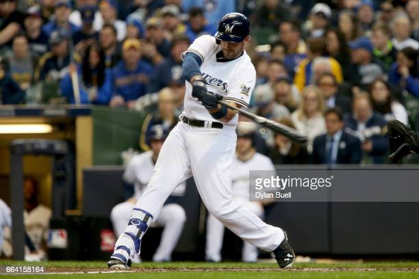 Travis Shaw of the Milwaukee Brewers hits a double in the second inning against the Colorado Rockies of the MLB opening day game at Miller Park on...