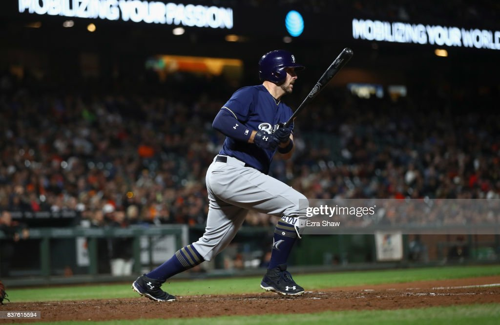 Travis Shaw #21 of the Milwaukee Brewers hits a double that scored Neil Walker #15 in the seventh inning against the San Francisco Giants at AT&T Park on August 22, 2017 in San Francisco, California.