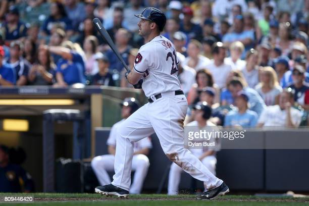 Travis Shaw of the Milwaukee Brewers hits a home run in the fifth inning against the Baltimore Orioles at Miller Park on July 04 2017 in Milwaukee...