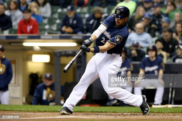Travis Shaw of the Milwaukee Brewers hits a home run in the first inning against the St Louis Cardinals at Miller Park on April 20 2017 in Milwaukee...