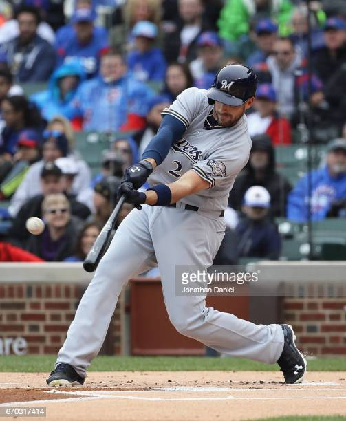 Travis Shaw of the Milwaukee Brewers hits a two run home run in the 1st inning against the Chicago Cubs at Wrigley Field on April 19 2017 in Chicago...