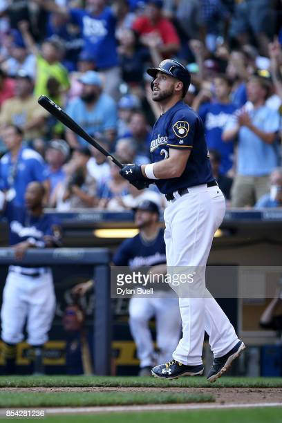 Travis Shaw of the Milwaukee Brewers hits a walk off home run to beat the Chicago Cubs 43 in ten innings at Miller Park on September 23 2017 in...